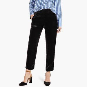 J. Crew Easy Pant in Black Velvet Pull On Pockets Cropped Holiday Size 00
